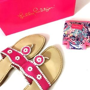 Pink White Whipstitched Navajo Palm Beach Sandals